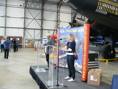 Opening announcements at the T2 hangar at Elvington